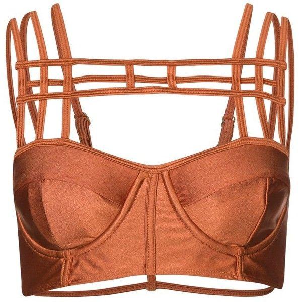 One Teaspoon PRETTY DAGGERS Bikini top ($35) ❤ liked on Polyvore featuring tops, bralet, underwear, lingerie, crop tops, brown, bralette crop top, cut-out crop tops, bralet crop top and brown top