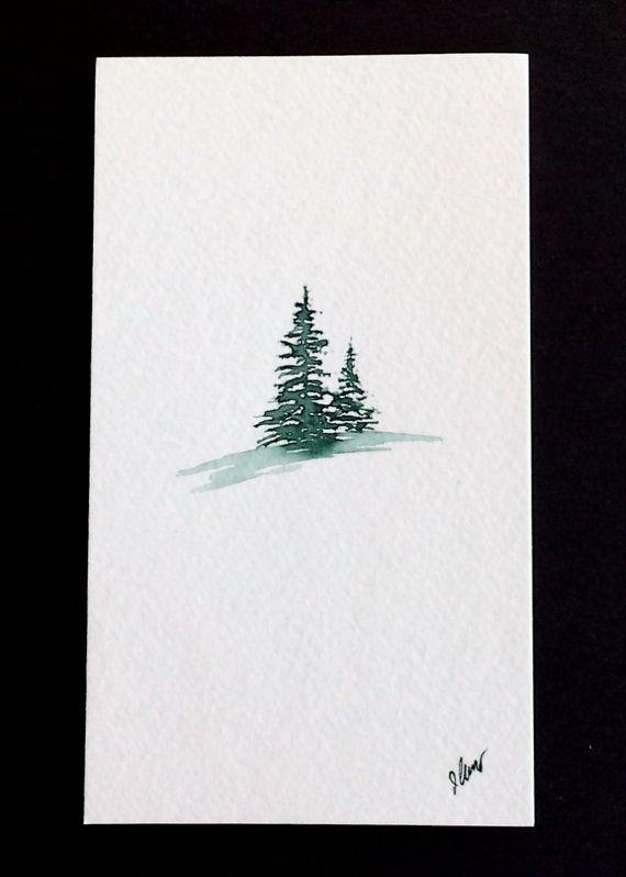 Oh Christmas Tree  Medium: Sennelier watercolor paints  Size: 3.5 x 6  Canvas: Canson 140 lb Cold-press paper. Acid-Free