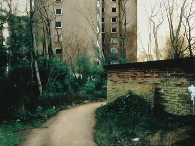 George Shaw paintings  This image shows a run down block of flats. I like the style of which george shaws photos are in. I would like to portray a similar style in my own work. Run down
