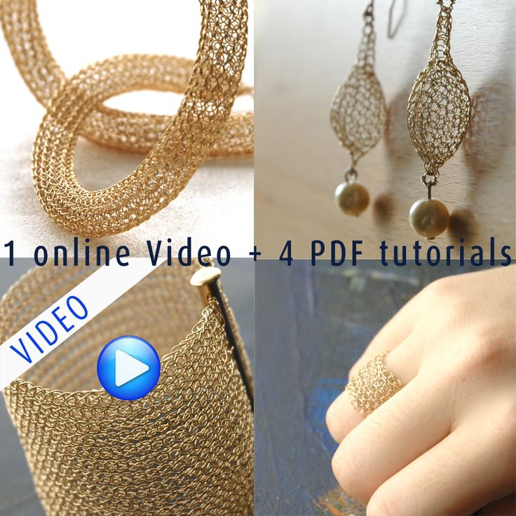 1 online video tutorial plus 4 detailed PDF jewelry tutorials with many photos and explanations. Anyone can follow them and create the designs, no special knowledge in jewelry making or crochet is required, only two hands and a good eyesight. This combo listing includes the following wire jewelry tutorials: wide cuff, glam necklace, drop earrings […]