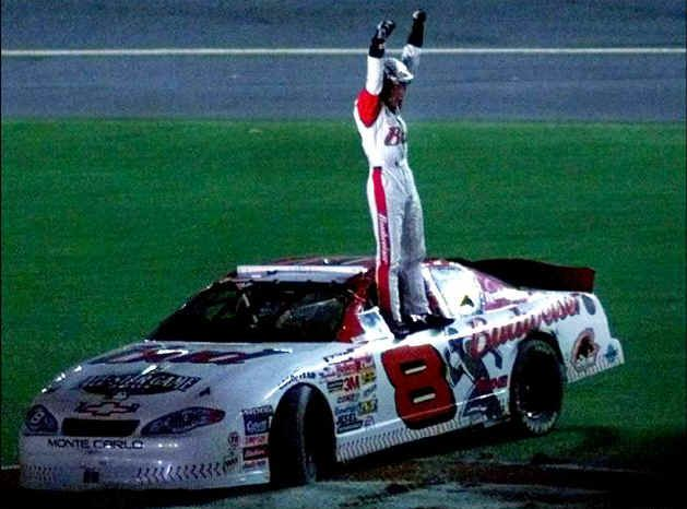 Dale Jr. wins! I love this photo...think it was at Daytona a few months after Dale Sr. was killed there.