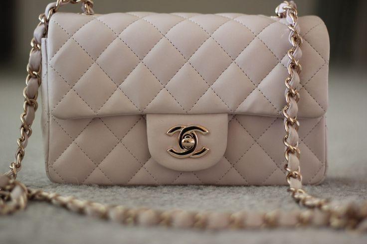 LOVE this light beige Chanel mini bag