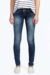 Evie Low Rise Indigo Wash Skinny Jeans