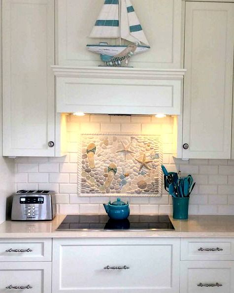 Coastal Kitchen Backsplash Ideas with Tiles: http://www.completely-coastal.com/2015/11/kitchen-backsplash-ideas-beach-murals-nautical-ocean-blue-tiles.html Beach Murals, Starfish Tiles, Blue Tiles and more.