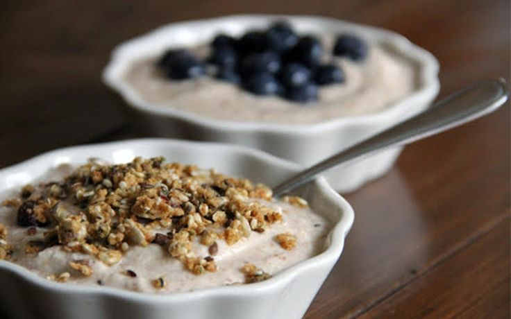 <p>Soaked nuts, water and meat from a coconut, and probiotics are combined to create a creamy and tangy vegan yogurt. </p>