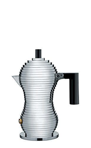 Alessi MDL02/1 B Pulcina Stove Top Espresso 1 Cup Coffee Maker in Aluminum Casting Handle And Knob in Pa, Black by Alessi