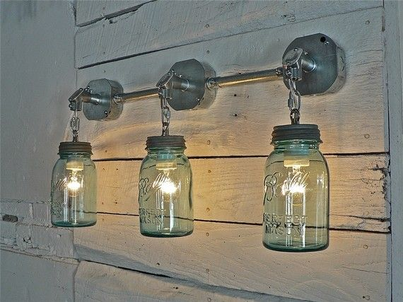 Handcrafted Blue Green Vintage Mason Three Jar Sconce Light