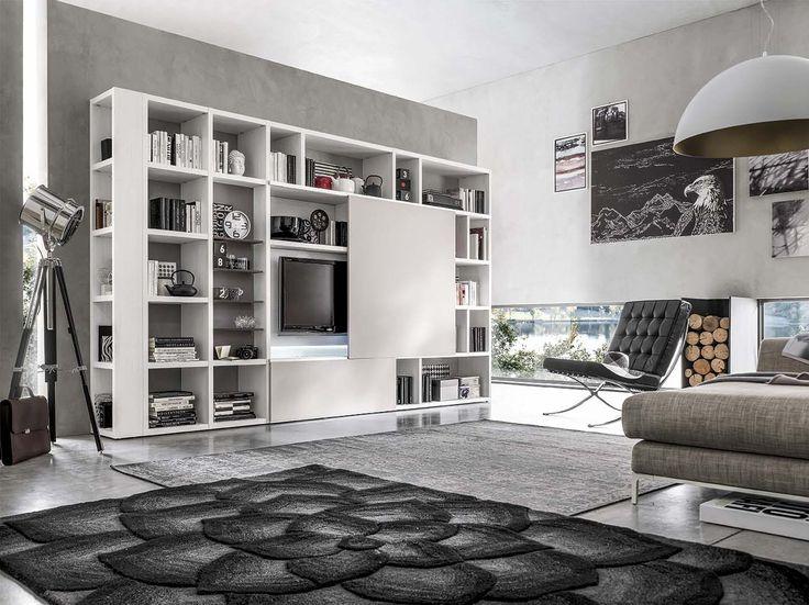 Libreria e porta tv con ante scorrevoli e alveare ad incasso di ...