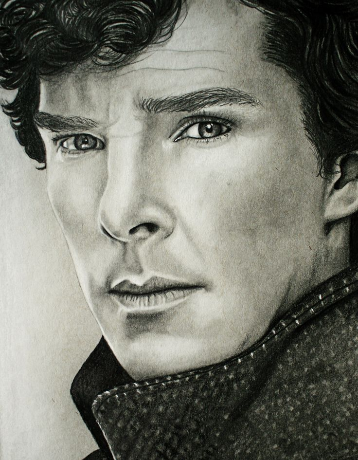 Benedict Cumberbatch as Sherlock,White Conté Pastel and Staedtler Graphite pencils on Strathmore Toned Grey paper.
