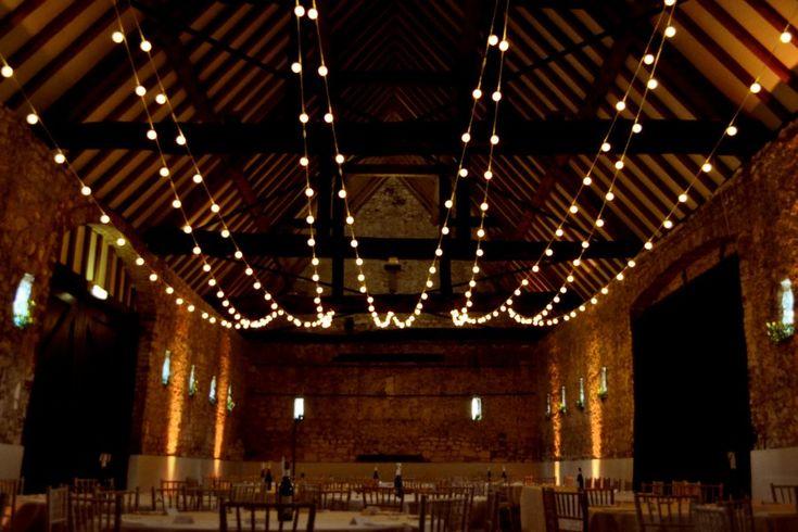 Rustic barn wedding festoon light canopy | Wedding lights | Gallery | Lights4fun.co.uk