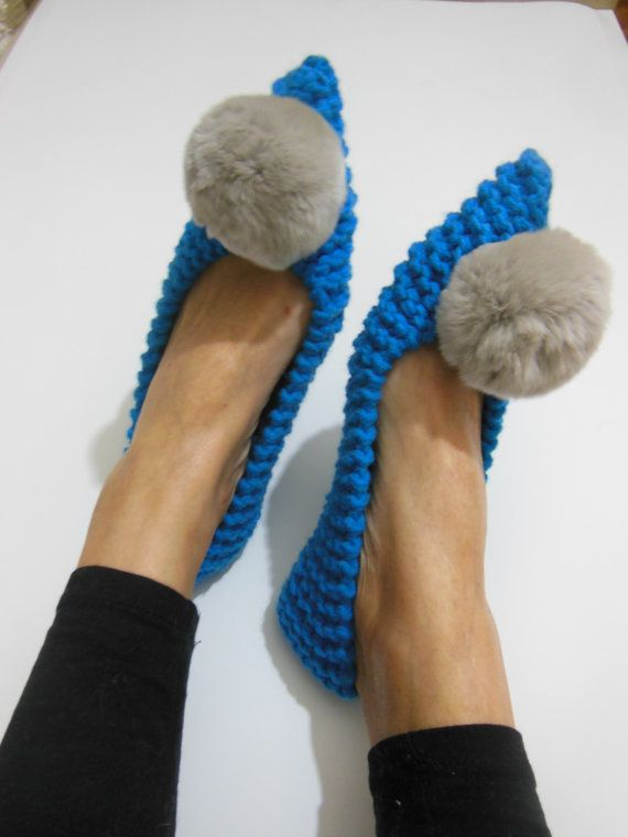 Pointed Toe Flats, Women's Slippers, Non Slip, Blue Slippers, Knitted, Crochet Slippers, Gift wrapped, Fur Pom Pom, Pointed ballet flats