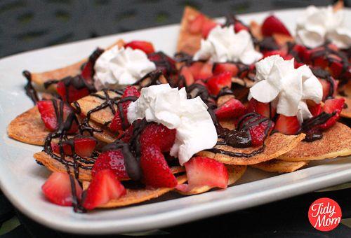 Strawberry/Chocolate nachos. Im pretty sure I had something like this ...