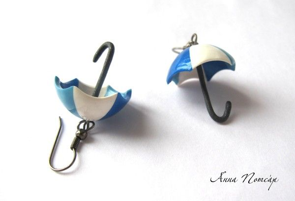 Cute idea for polymer clay earrings #polymer #clay #earrings #umbrella