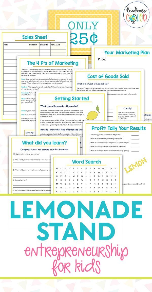 Entrepreneurship For Kids Lemonade Stand With Free Printables In 2021 Business Planning Printables P S Of Marketing Lemonade Stand