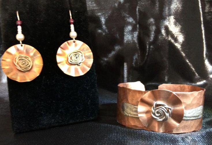 copper with silver rose bracelet and earrings by cindymarie