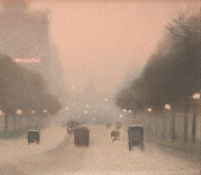 An image of Evening, St Kilda Road by Clarice Beckett. Soft edges suggest a soft focus of vision