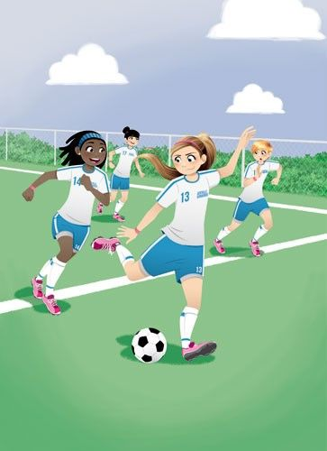Paula Franco Illustration - paula franco, paula, franco, mass, commercial, digital, educational, advertising, editorial, novelty, fiction, young reader, photoshop, illustrator, girls, women, teenagers, female, friends, footballs, soccer, games, pe, match, pitch, running, aiming, kicking,