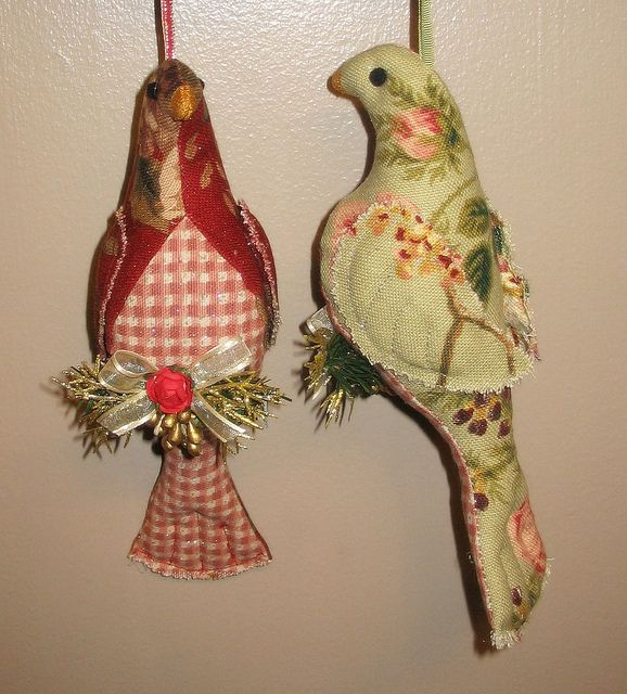 Soft sculptured holiday birds victorian bird and ornament