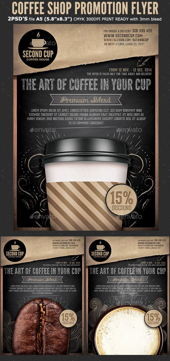 Coffee Shop Promotion Flyer Template #design Download: http://graphicriver.net/item/coffee-shop-promotion-flyer-template/10416089?ref=ksioks