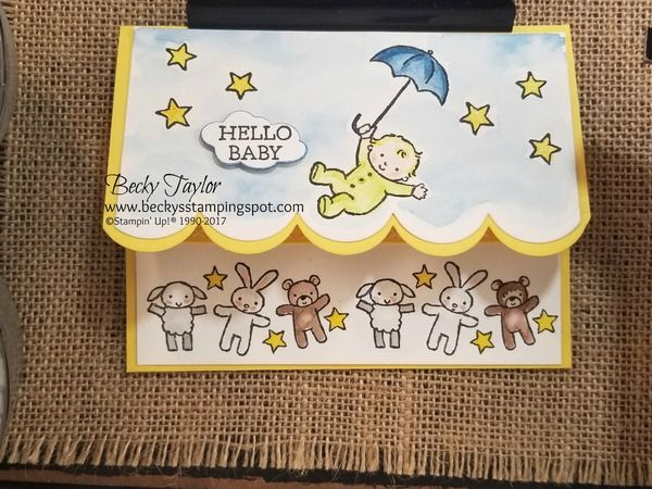 Creating with Becky's Stamping Spot   blog  Moon Baby, Gift Card Holder, Stampin' Up! watercolor