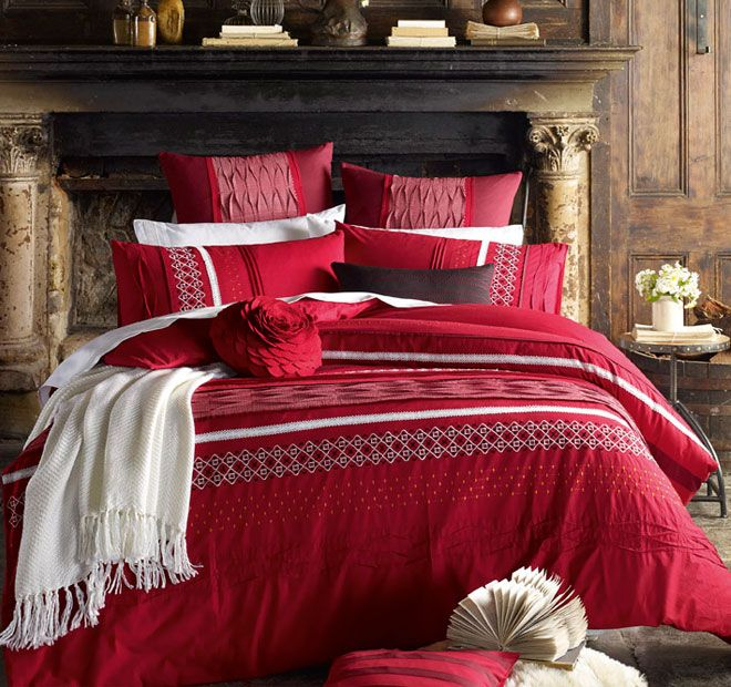 Lux Lucia Quilt Cover Set Range Red