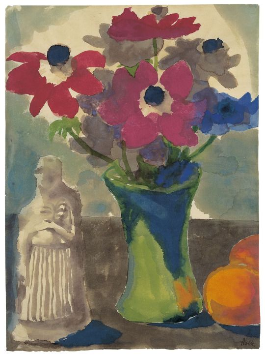 Emil Nolde (German-Danish, 1867 - 1956) Still Life (Anemones in green vase, oranges and a sculpture) (Stilleben (Anemonen in grüner Vase, Orangen und eine Skulptur)), 1925-30 Watercolour, 48,1 × 35,1 cm