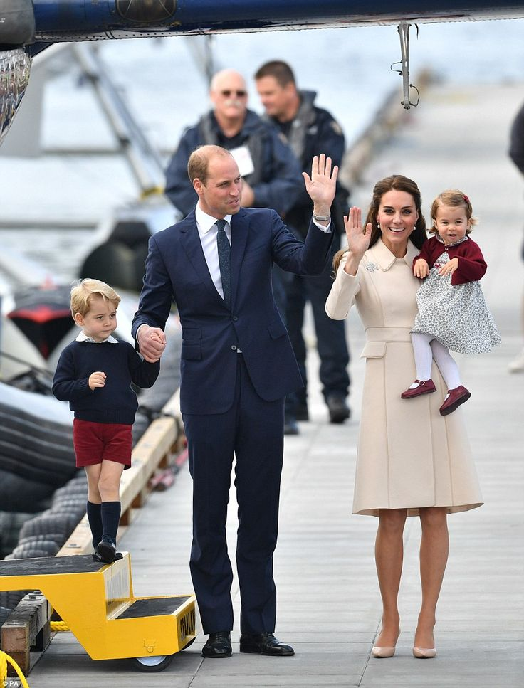 Farewell: With a smile and a wave, the Duke and Duchess of Cambridge today bade farewell to Canada alongside their children, Prince George and Princess Charlotte