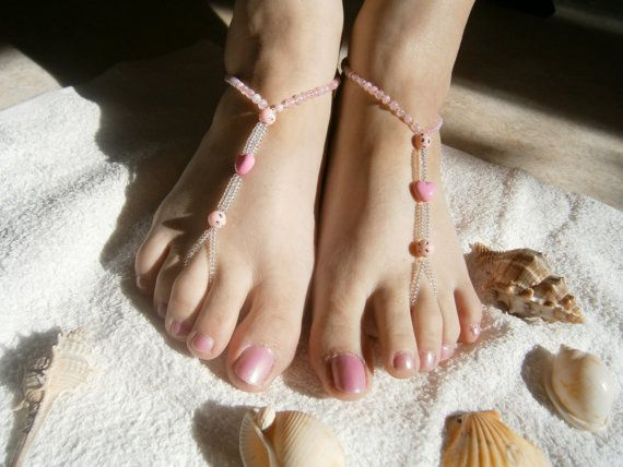 SALE  Pink Barefoot Sandles   Heart Foot by GlamorousSparkle, €6.00