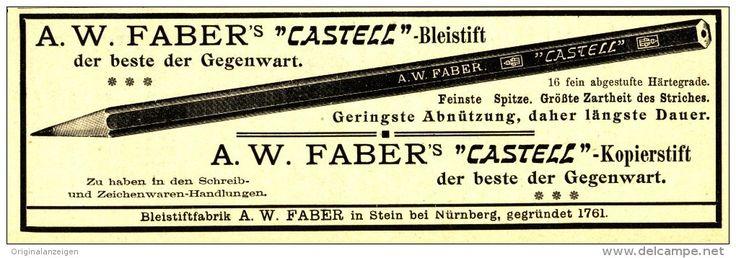 Original-Werbung/ Anzeige 1908 - FABER CASTELL BLEISTIFT - ca. 170 x 55 mm