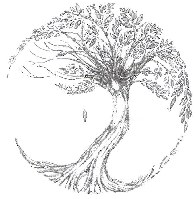 Tree of Life tattoo - add nest with 2 eggs and 4 forget-me-nots