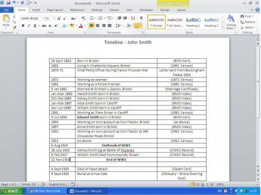 RP: How to make very simple working research timeline created using Word.