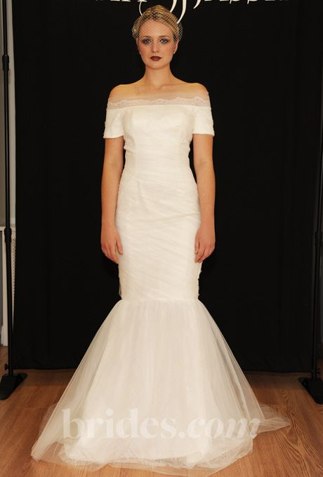 Off-the-Shoulder Tulle Trumpet Gown with Short Sleeves Sarah Jassir Wedding Dress Fall 2013