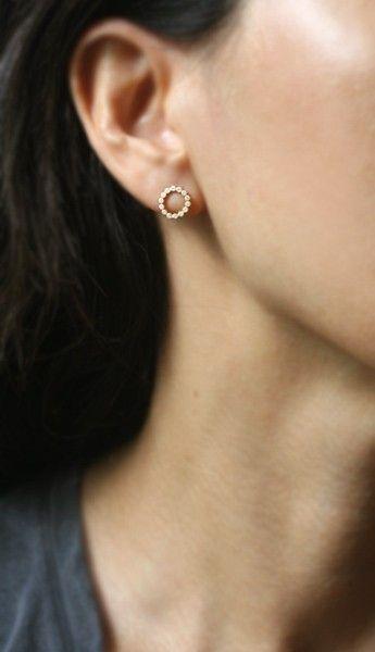 Flat Circle Stud Earrings in 14k Gold