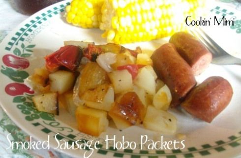 Smoked Sausage, Potato, Onion and Pepper Hobo Packets