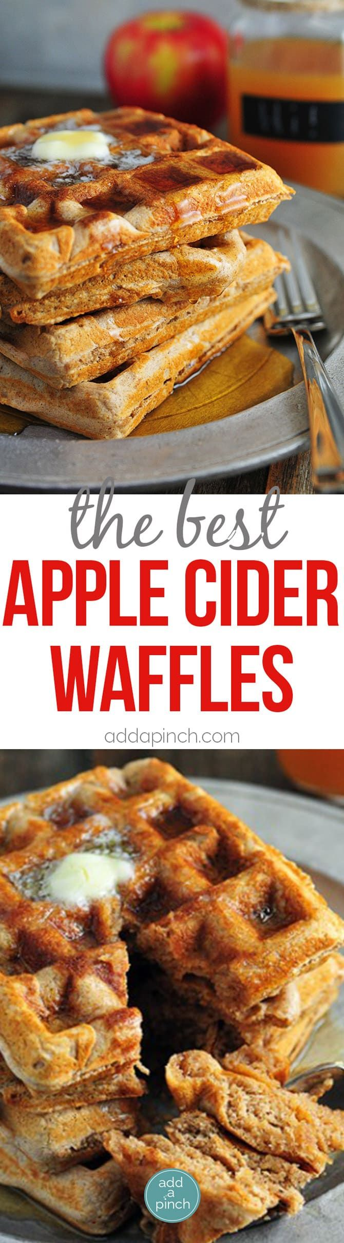 Apple Cider Waffles Recipe - Apple cider waffles are a great addition to your fall and winter breakfast routine. Serve these waffles with warm maple syrup and apple cider for the ultimate breakfast!