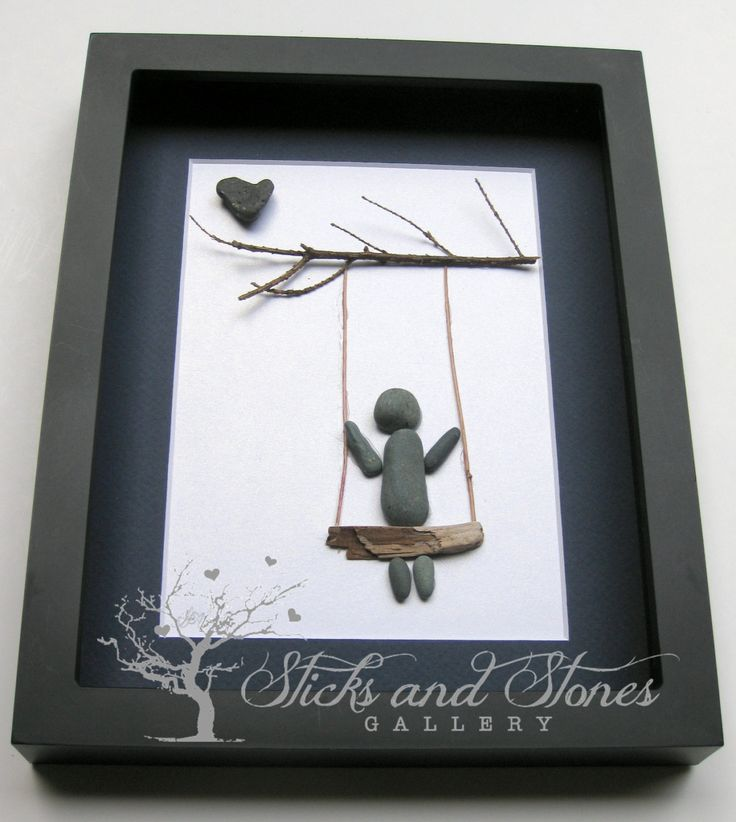 Pebble Art Swing Scene -Modern Childrens Art - Baby Shower Gift -SticksnStone Designs - Modern Nursery Pebble Art - Children's Swing - by SticksnStone on Etsy