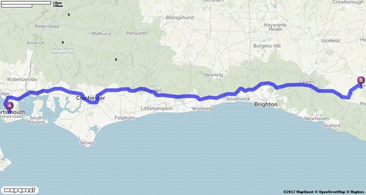 Editable, Custom Driving Directions from Portsmouth, United Kingdom to Michelham Priory in Wealden, United Kingdom