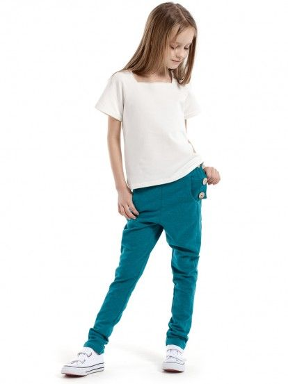 Dječje sportske hlače za djevojčice KIDIN - smaragdno zelena