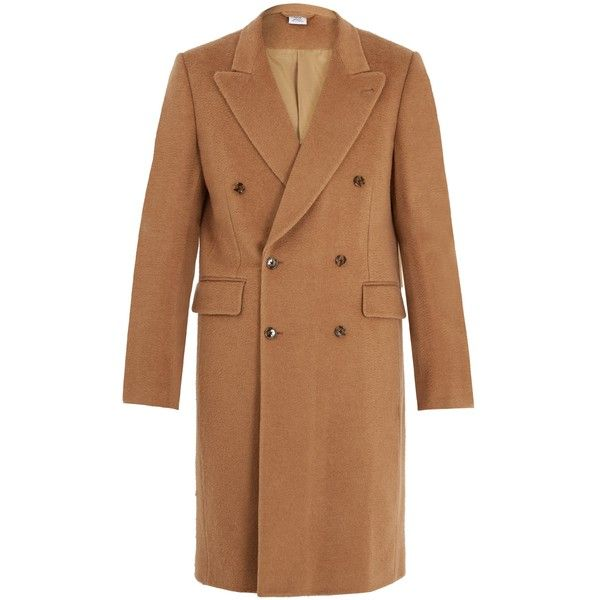 Vetements Double-breasted camel-hair coat ($4,290) ❤ liked on Polyvore featuring men's fashion, men's clothing, men's outerwear, men's coats, camel, mens camel coat, mens double breasted camel coat, mens camel wool coat, mens double breasted coat and mens camel hair coat