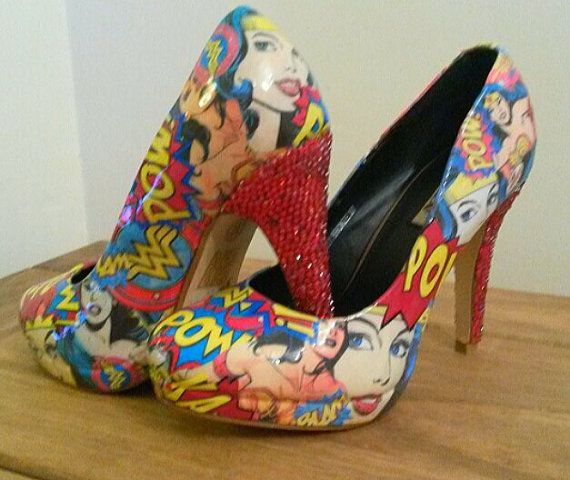 Wonder woman customised shoes with diamante heels by SHUmaze
