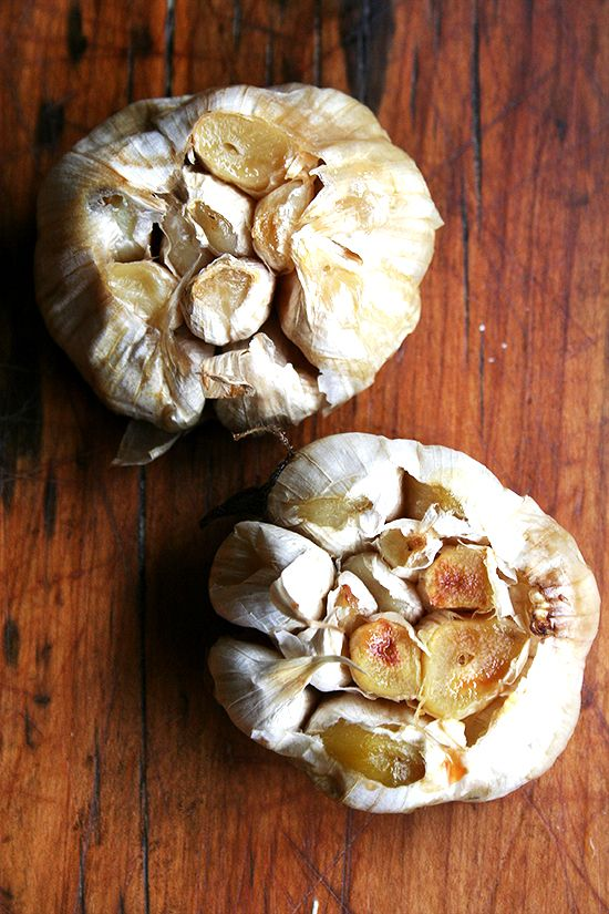 Whole Roasted Garlic--delicious as a base for so many wonderful things...butters, meat rubs, and I can never resist popping one in my mouth...all caramelized and delicious!