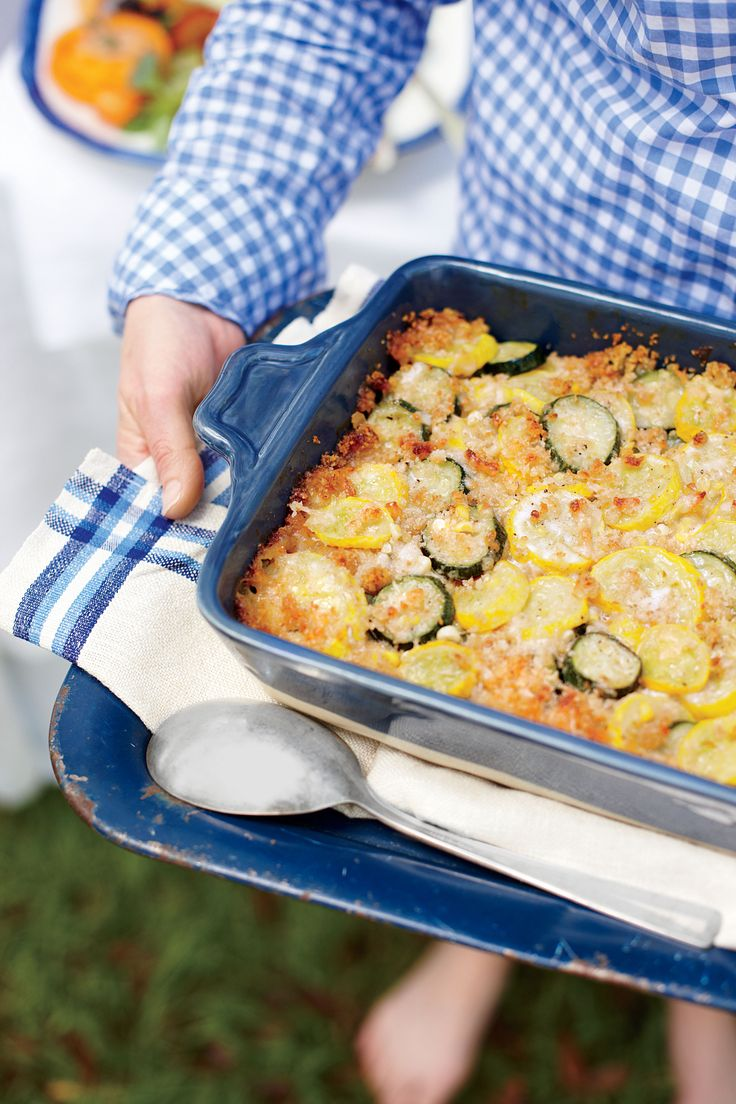 Summer Squash Casserole  | Soft, white breadcrumbs double as a feather-light binder and golden crumb topping in this summer squash casserole.