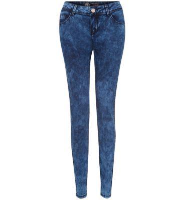 32in Blue Acid Wash Skinny Jeans