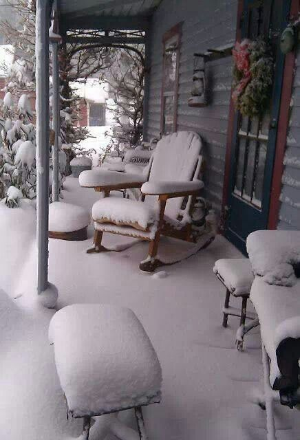 Snow covered porch