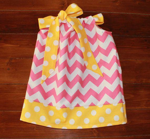 Pink Lemonade Party Dress, Girls Pink Chevron Easter Pillowcase Dress, Infant Toddler Pink and Yellow Polka Dot Dress, Strawberry Lemonade