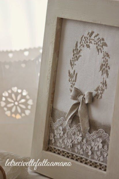 I like the idea of framing a wedding project with a bit of lace at the bottom.  So pretty!