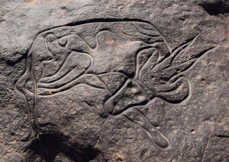 Sleeping Antelope, Saharan Rock Art , Algeria, ca. 9000 BC