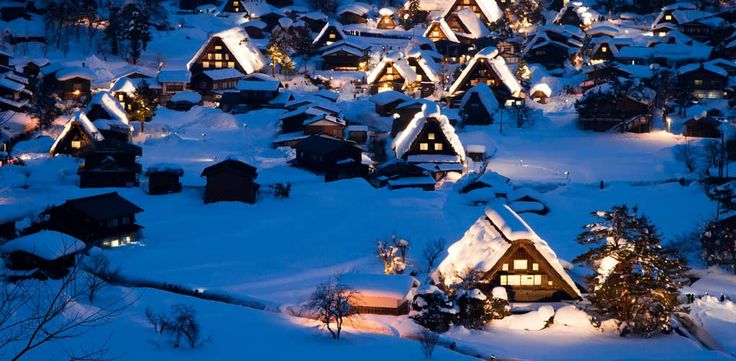 Shirakawa-Go, Japan This tiny village is perched atop the highest peak of Mount Haku in the Ryōhaku Mountains. It's one of the snowiest places in the world, making weather-resistant, sturdily-roofed minka houses (like the ones pictured above) an absolute necessity.