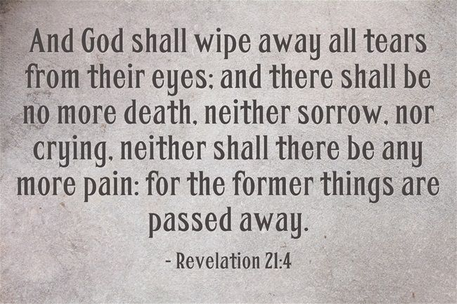 And God shall wipe away all tears from their eyes; and there shall be no more death, neither sorrow, nor crying, neither shall there be any more pain: for the former things are passed away. - Revelation 21:4