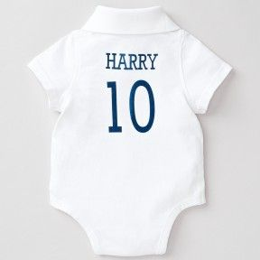 Personalised White Polo Bodysuit Part Of Our Baby Clothes Range